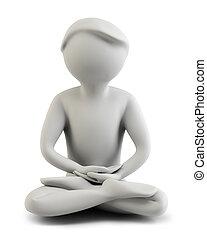 meditación, 3d, -, gente