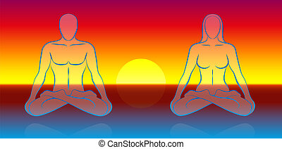 meditación, alma, dual
