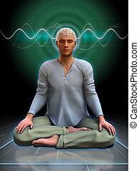 meditación, brainwaves