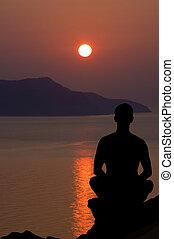 meditación, en, el, sunset.