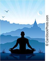 meditación, en las montañas