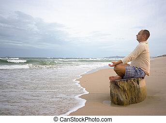 meditación, en, ocaso, tiempo