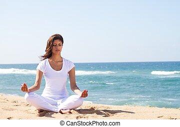 meditación, en, playa