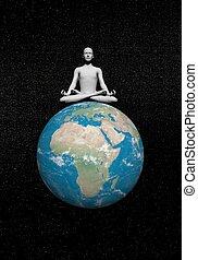 meditación, en, tierra, -, 3d, render