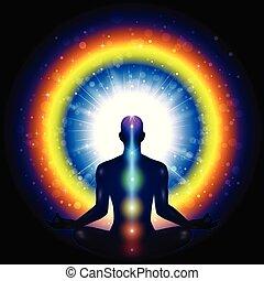 meditación, hombre, chakra