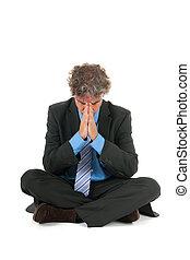 meditación, hombre de negocios