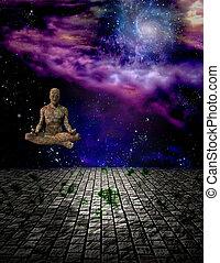 meditación, hombre