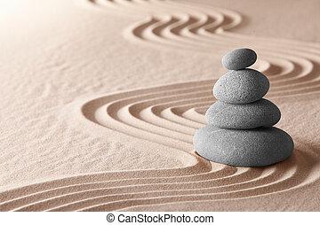 meditación, jardín zen