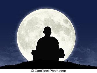 meditación, lleno, monje, luna