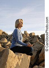 meditación, mujer