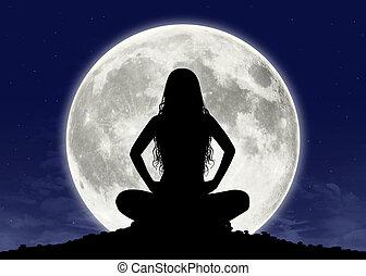 meditación, mujer, joven, luna llena