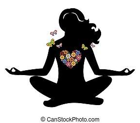 meditación, niña, flores