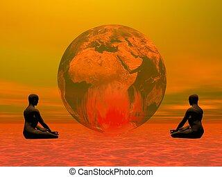 meditación, para, abrasador, tierra