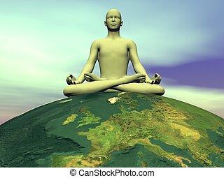 meditación, para, la tierra, -, 3d, render