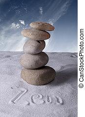 meditación, piedras, en, arena