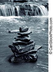 meditación, rocas
