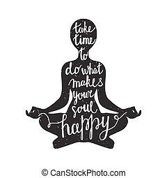 meditación, silueta, cita