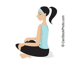 meditación, vector, -