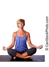 meditación, yoga, a, alinear, chakra