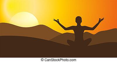 meditación, yoga, en, alto, montaña, en, ocaso, plano de fondo