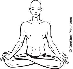 meditar, bosquejo, posturas, hombre del yoga