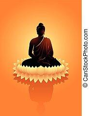 meditar, buddha, flor, loto, água