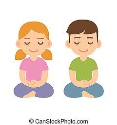 meditar, caricatura, crianças