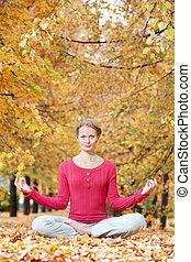 meditar, en, otoño