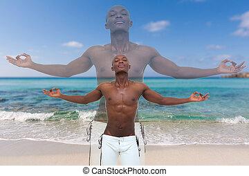meditar, homem, praia