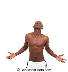 meditar, jovem, muscular, homem