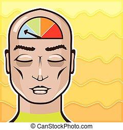 meditar, medida, relaxe, alerta, pessoa
