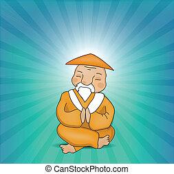 meditar, mestre, zen