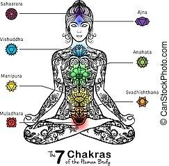 meditar, mujer, icono, yoga, postura lotus