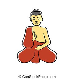 meditare, monaco buddistico