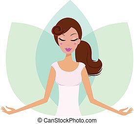 meditare, ragazza, isolato, carino, yoga, fiore, loto, bianco