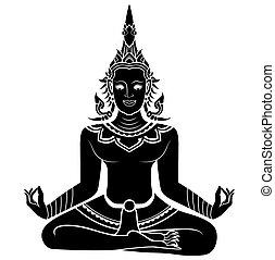 meditare, silhouette, illustrazione, angelo
