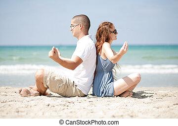 meditare, spiaggia