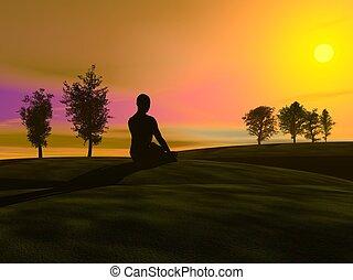meditatie, ondergaande zon