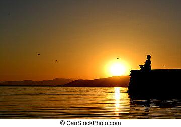 meditatie, op, ondergaande zon
