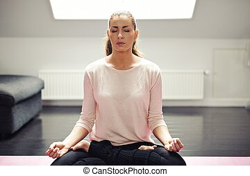 meditatie, vrouw, jonge, passen