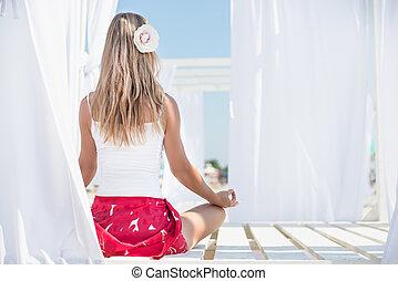 meditatie, vrouw, strand, jonge