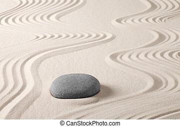 meditatie, zen tuin, rots