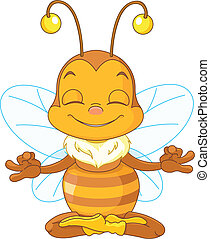 Meditating Bee - Cute bee sitting in the lotus position and...
