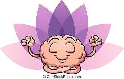 Meditating cartoon brain in lotus flower position. Vector clip art illustration with simple gradients. Brain and flower on separate layers.