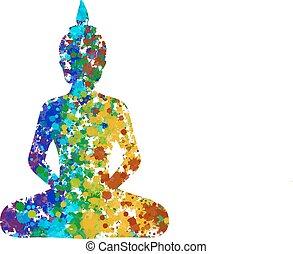 Meditating Buddha posture in rainbow