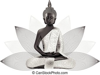 Meditating Buddha posture in silver and black colors in lotus on background
