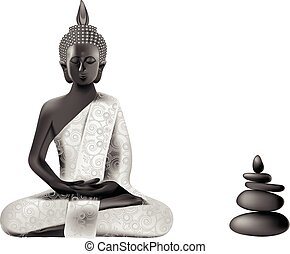 Meditating Buddha posture in silver and black colors with...