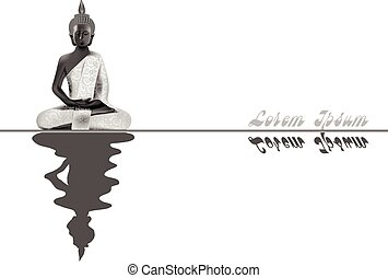 Meditating Buddha posture in silver and black colors with reflection in water
