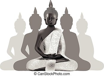 Meditating Buddha posture in silver and black colors with silhouettes on background