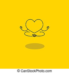 Meditating heart in lotus position. Symbol of happiness and tranquility